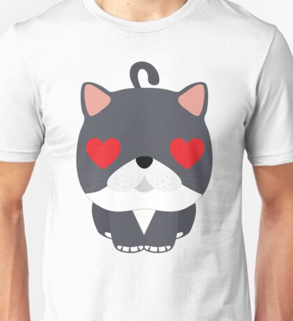 Exotic Cat Emoji Heart and Love Eyes Look Unisex T-Shirt