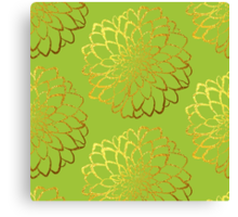 Dahlia on acid green and gold pattern design Canvas Print