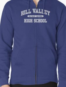 Hill Valley High School (White) Zipped Hoodie