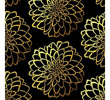 Dahlia on black and gold pattern design Photographic Print