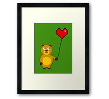 Teddy with a pixel heart balloon Framed Print