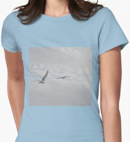 Gulls Flying High..Lyme Dorset  Womens Fitted T-Shirt
