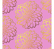 Dahlia on gerbera and gold pattern design  Photographic Print