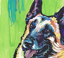 Belgian Malinois Dog Bright colorful pop dog art by bentnotbroken11