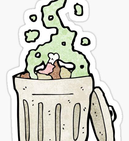 old garbage can cartoon Sticker