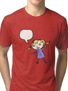 cartoon little blond girl Tri-blend T-Shirt