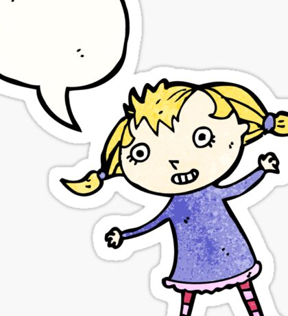 cartoon little blond girl Sticker