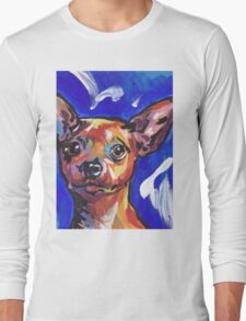 Miniature Pinscher Dog Bright colorful pop dog art Long Sleeve T-Shirt