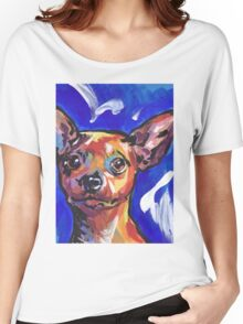 Miniature Pinscher Dog Bright colorful pop dog art Women's Relaxed Fit T-Shirt