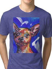 Miniature Pinscher Dog Bright colorful pop dog art Tri-blend T-Shirt