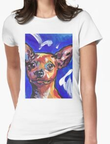 Miniature Pinscher Dog Bright colorful pop dog art Womens Fitted T-Shirt