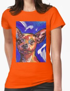 Miniature Pinscher Dog Bright colorful pop dog art Womens Fitted T-Shirt