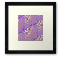 Dahlia on violet and gold pattern design Framed Print