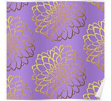 Dahlia on violet and gold pattern design Poster