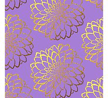 Dahlia on violet and gold pattern design Photographic Print
