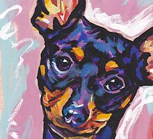 Miniature Pinscher Dog Bright colorful pop dog art by bentnotbroken11