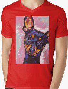 Miniature Pinscher Dog Bright colorful pop dog art Mens V-Neck T-Shirt