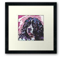 Landseer Newfoundland Dog Bright colorful pop dog art Framed Print