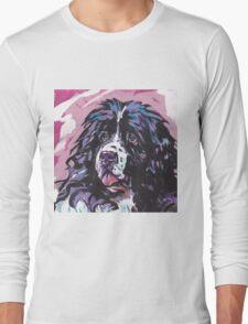 Landseer Newfoundland Dog Bright colorful pop dog art Long Sleeve T-Shirt