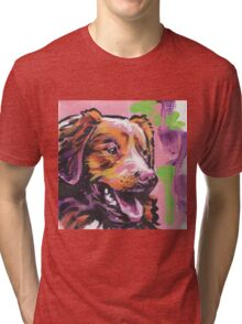 Nova Scotia Duck Tolling Retriever Dog Bright colorful pop dog art Tri-blend T-Shirt