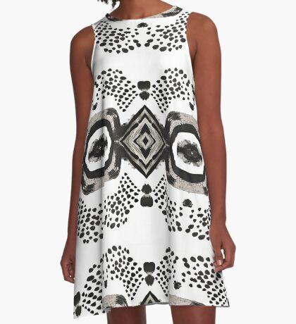Inky Eyes - Monochrome A-Line Dress