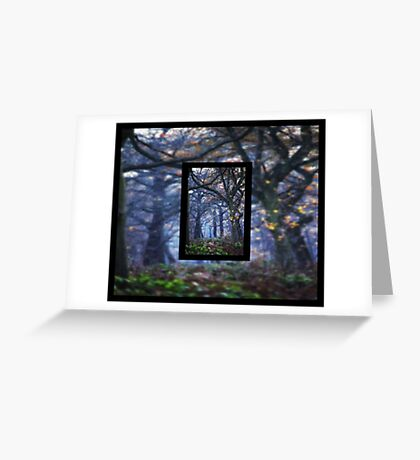 The Enchanted Forest Portrait with Double Border Greeting Card