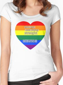 Let's get one thing straight, I'm not - LGBT heart flag Women's Fitted Scoop T-Shirt