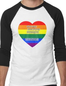 Let's get one thing straight, I'm not - LGBT heart flag Men's Baseball ¾ T-Shirt