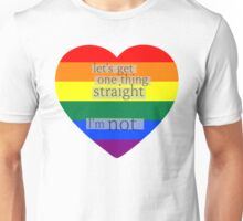 Let's get one thing straight, I'm not - LGBT heart flag Unisex T-Shirt