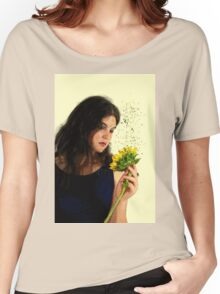 teen with sunflower Digitally enhanced image  Women's Relaxed Fit T-Shirt