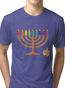 Hanukkah with menorah and wooden dreidel Tri-blend T-Shirt