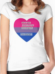 Let's get one thing straight, I'm not - bisexual heart flag Women's Fitted Scoop T-Shirt
