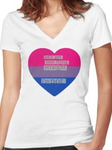 Let's get one thing straight, I'm not - bisexual heart flag Women's Fitted V-Neck T-Shirt