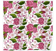 Pattern with  realistic  rose Poster