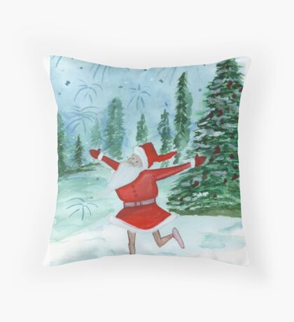 Santa Ballerina Throw Pillow