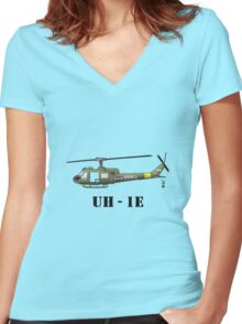 Helicopter UH-1E Women's Fitted V-Neck T-Shirt