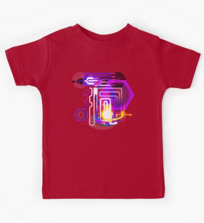 Abstract Neon Lights and Lens Flares Art Kids Tee
