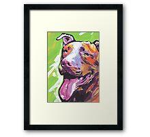 Pitbull Dog Bright colorful pop dog art Framed Print