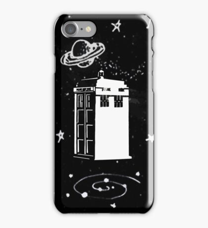 black and white tardis iPhone Case/Skin