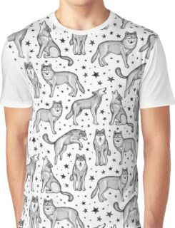 Wolves and Stars on White Graphic T-Shirt