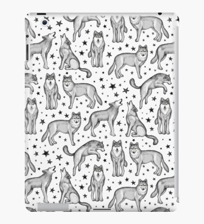Wolves and Stars on White iPad Case/Skin