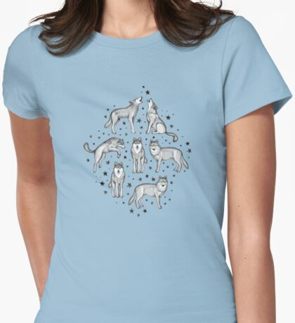 Wolves and Stars on White Womens Fitted T-Shirt