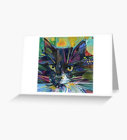 Black and white fluffy cat painting - 2011 Greeting Card