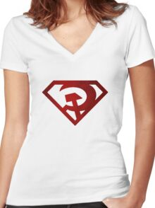 Superman hammer and sickle Women's Fitted V-Neck T-Shirt