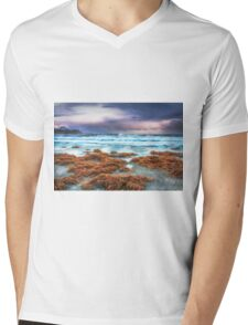 Seaweed, on the beach, stormy skies and rain Mens V-Neck T-Shirt