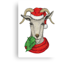 Winter holiday goat Canvas Print