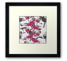 Pink thistle and yellow bumblebee Framed Print