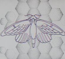 3D pointillism moth print by kkirstind