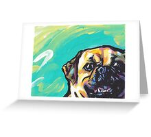Puggle Dog Bright colorful pop dog art Greeting Card