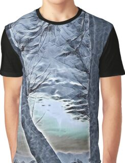 Winter trees in Ice Blue Graphic T-Shirt